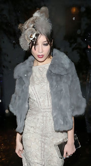 Daisy Lowe brought out her quirky side for Halloween in this fuzzy chipmunk hat.