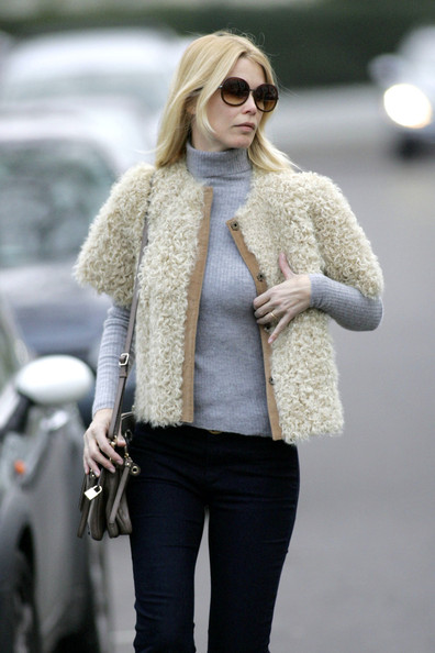 Claudia charms in a textured crop jacket while out in London.