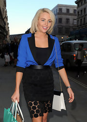 Lydia Rose Bright looked so polished in her mod blue blazer and pencil skirt.