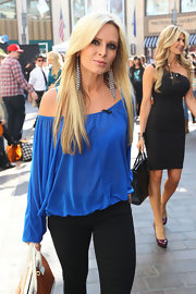 Tamra Barney wore her long pale stresses pin straight during an appearance on 'Extra.'