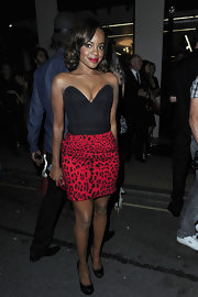Keisha showed off her assets in a corset dress, which showed off the seasons hottest print, leopard.