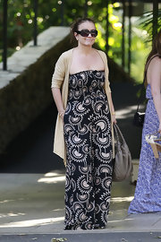 Tina Simpson chose a tribal-print maxi for her look at Maxwell Simpson's first birthday.