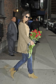 Katie Holmes wdas spotted in tan suede ankle boots after her appearance on the 'Late Show with David Letterman.'