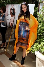 Janina Gavankar wore an extremely unique dyed chiffon dress to the 'Maxim' Summer Issue Release Party.