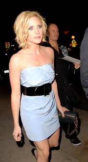 Brittany stepped out in a dainty blue mini dress with a short and piecey-waved hairstyle.