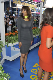 Tyra's suede shoes perfectly matched her gray dress on 'Good Morning America.'