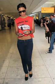 Rochelle Wiseman embraced her trip to Hollywood sporting a red California girl crop top.