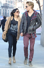 Vanessa Hudgens enjoyed a stroll through NYC in a Sauce Paris tank layered under a cozy camel sweater.