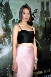 Jena wore a fitted satin crop top with a high-waisted skirt for the 'Sucker Punch' premiere.