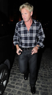 Gordon Ramsey was spotted leaving Maze restaurant in a navy, plaid button down.
