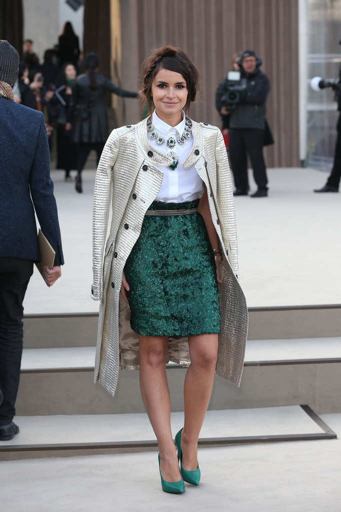 Miroslava Duma at the Burberry Prorsum Autumn/Winter Womenswear at Kensington Gardens, Part of London Fashion Week.