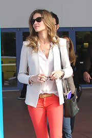 Ana Beatriz Barros showed off her chic street style with this taupe blazer, white button-down, and orange jeans combo at Art Basel in Miami.