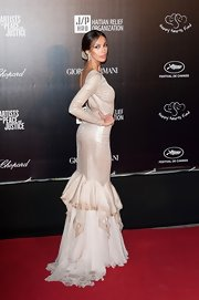 Madalina Ghenea looked magnifique in Cannes wearing her floor-length backless gown.