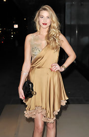 Whitney Port wore this lavish gold lace cocktail dress to the Rodial Beautiful Awards in London.