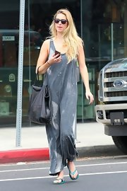 Whitney Port's galactic paint-splattered maxi-dress looked cozy and artistic.