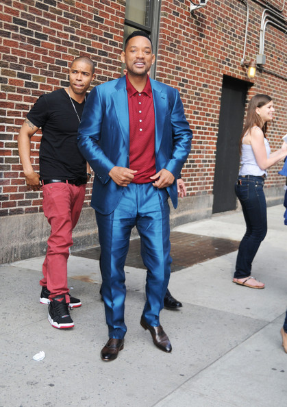 Will Smith rocked an electric blue suit over a red polo while out at the 'The David Letterman Show.'