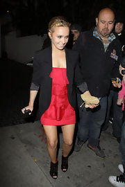 Hayden donned a long back blazer over a fluorescent pink cocktail dress at Chateau Marmont.