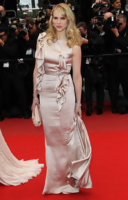 Lucy Punch dazzled in a ruffled gold evening dress at the screening of 'You Will Meet a Tall Dark Stranger.'