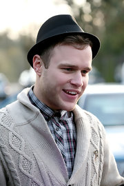 Olly Murs was spotted out in London wearing a Chaplin hat.