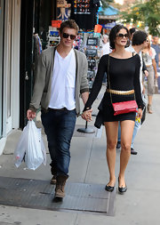 Shermine Shahrivar opted for a pair of comfy ballet flats as she explored Greenwich Village with Xavier Samuel.