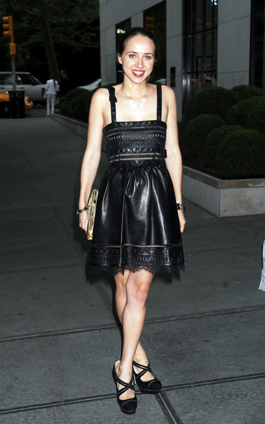 Zoe Kazan Leather Dress