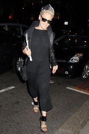 Pink stepped out in an all-black ensemble with two-toned, cutout ankle booties.