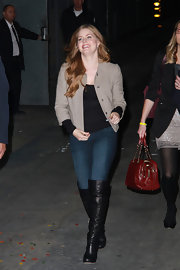 Amy Adams was perfectly casual in on trend over the knee boots.