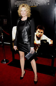 Virginia Madsen posed in a pair of timeless black pumps. She paired the heels with her leather on leather red carpet look.