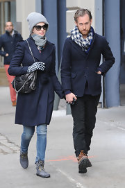 Adam Shulman showed his sense of style with this blue and white gingham scarf.
