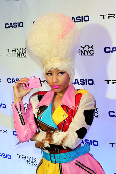 It's no secret that Nicki Minaj is a lover of all things pink. The singer added a pop of bright color to her vivid look with cotton candy lipstick at the launch of Casio's Tryx Out camera.