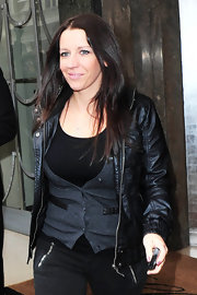 Pattie Mallette looked like a superstar in a fierce monochromatic ensemble topped with a black leather jacket.
