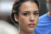 A sullen Jessica Alba arrives to take part in The 13th Annual EIF Revlon Run/Walk for Women in Times Square, NYC.