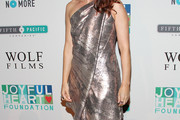 Debra Messing One Shoulder Dress