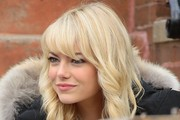 Emma Stone Medium Curls with Bangs