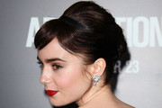 Lily Collins Bobby Pinned updo