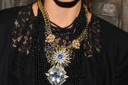 Olivia Palermo Sparkles in Gemstone Statement Necklace