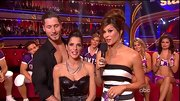 Brooke Burke hosted Dancing With The Stars in a lovely black and white striped gown.