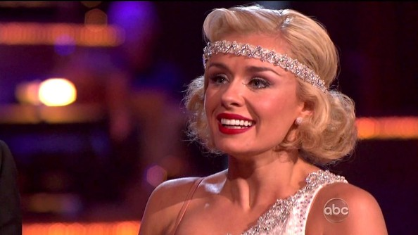Matte brick lipstick added the perfect pop of color to Katherine Jenkins' 'Great Gatsby' inspired look.