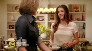Julie Gonzalo may be up to no good on 'Dallas,' but she looked sweet as can be in a lace scalloped blouse.