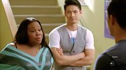 Harry Shum Jr. dressed up a t-shirt with a classic gray vest.