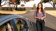 A silky lavender blouse was a romantic addition to Julie Gonzalo's dark denim on 'Dallas.'