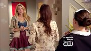 Blake Lively offset her prim cardigan with a flirty two-tone mini skirt on 'Gossip Girl.'