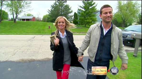 Emily Maynard layered an extra long boyfriend blazer over her collegiate style for her hometown date with Chris.