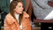 This peachy fur jacket gave a posh vibe to Vanessa Lengie's ensemble.