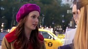 Leighton Meester livened up a winter's day with this fuchsia beret.