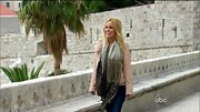 A flowing pashmina added a sense of romance to Emily Maynard's pastel pink leather jacket.