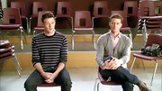 Cory Monteith opted for a basic striped sweater for his casual look on 'Glee.'