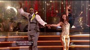Sharna Burgess rocked a pair of metallic gold pants.
