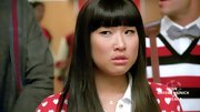 Jenna Ushkowitz made her transformation into Rachel Berry complete with a dainty 'R' initial necklace.
