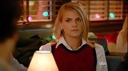 Eliza Coupe matched her character's Type A personality with a buttoned up top and prim sweater vest.